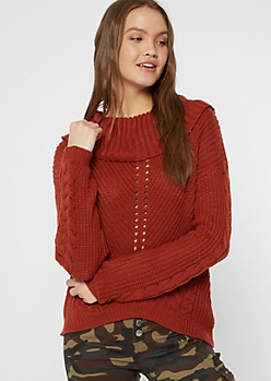 Burnt Orange Cowl Neck High Low Sweater