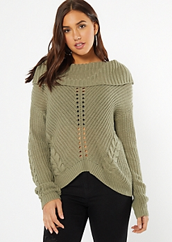 Olive Cowl Neck High Low Sweater