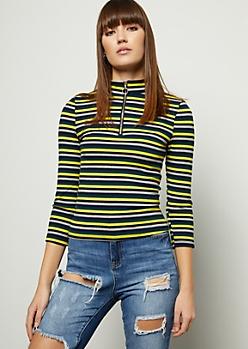 Neon Yellow Striped Half Zip Mock Neck Skimmer Tee