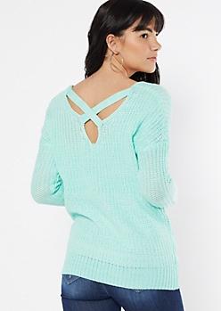 Teal Marled Pointelle Lattice Back Sweater