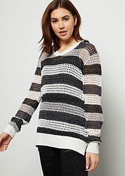 Gray Striped Pointelle Metallic Hooded Sweater