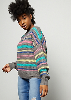 Gray Multi Striped Mock Neck Sweater