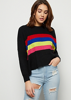 Black Rainbow Striped Skimmer Sweater
