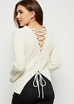 Ivory Bell Sleeve Lace Up Back Sweater
