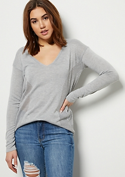 Heather Gray Pointelle V Neck Pullover Sweater