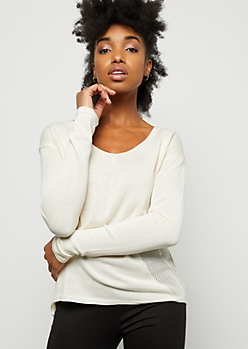 Ivory Pointelle V Neck Pullover Sweater
