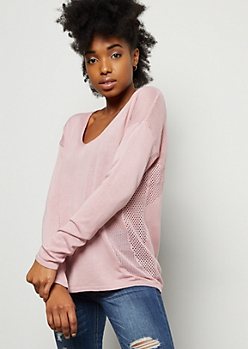 Pink Pointelle V Neck Pullover Sweater