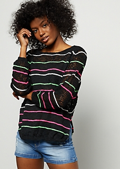 Black Neon Striped Pointelle Sweater