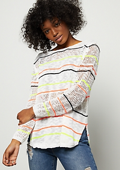 White Neon Striped Pointelle Sweater