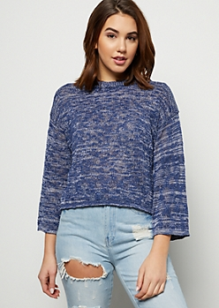 Navy Marled Bell Sleeve Skimmer Sweater