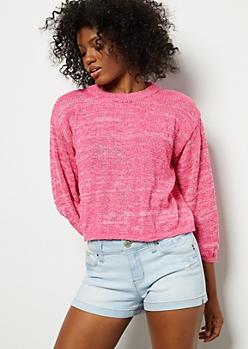 Fuchsia Marled Bell Sleeve Skimmer Sweater