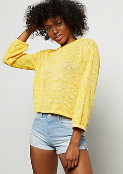 Bright Yellow Bell Sleeve Skimmer Sweater