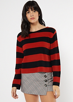 Red Striped Scoop Neck Sweater
