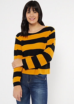 Mustard Striped Scoop Neck Sweater