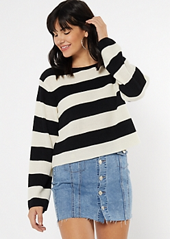 Ivory Striped Scoop Neck Sweater