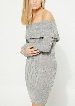 Gray Cable Knit Off The Shoulder Tunic Sweater