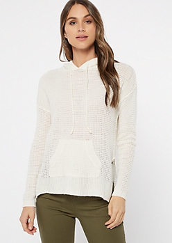 Ivory Waffle Knit Pullover Hoodie