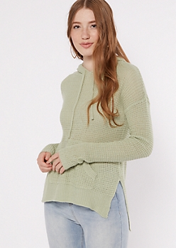 Light Green Waffle Knit Pullover Hoodie