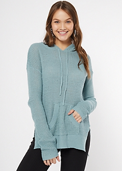 Blue Waffle Knit Pullover Hoodie