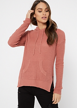 Mauve Waffle Knit Pullover Hoodie