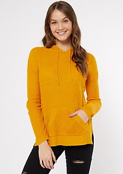 Orange Waffle Knit Pullover Hoodie