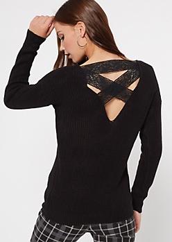 Black Lattice Lace Back Sweater