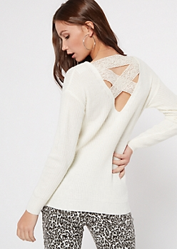 Ivory Lattice Lace Back Sweater