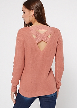 Pink Lattice Lace Back Sweater