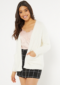 Ivory Teddy Pocket Cardigan