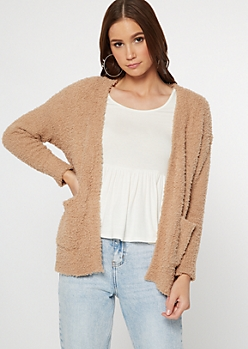Tan Teddy Pocket Cardigan