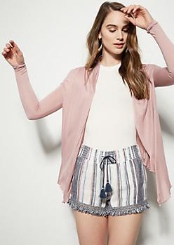 Medium Pink Draped Cardigan