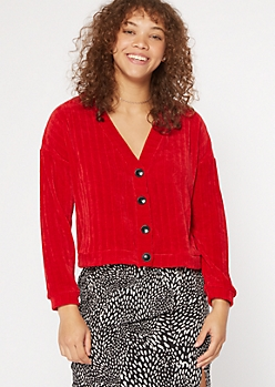 Red Chenille Drop Sleeve Boxy Cardigan