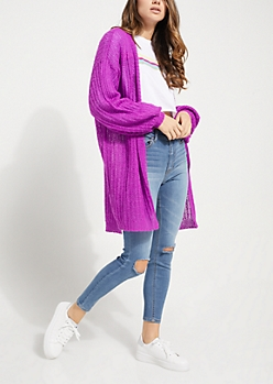 Purple Boucle Knit Slouchy Cardigan