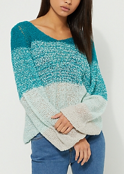 Blue Ombre Boucle Sweater