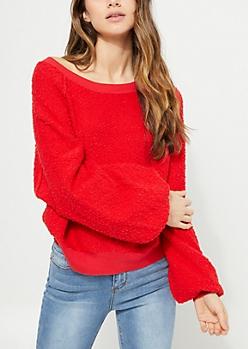 Red Marled Knit Sweatshirt