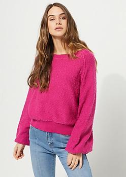 Fuchsia Marled Knit Sweatshirt