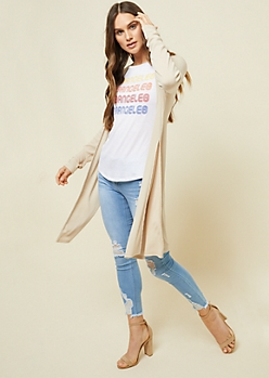 Sand Ribbed Knit Open Front Maxi Cardigan