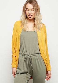 Mustard Long Sleeve Open Front Cardigan