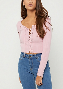 Pink Ripped Lace Up Crop Sweater