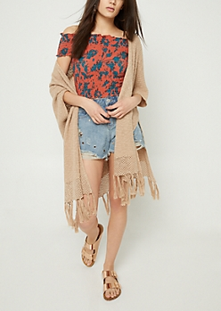 Cream Fringe Short Sleeve Cardigan