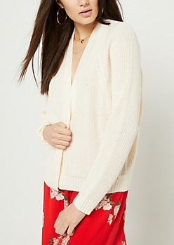 Ivory Open Front Long Sleeve Cardigan