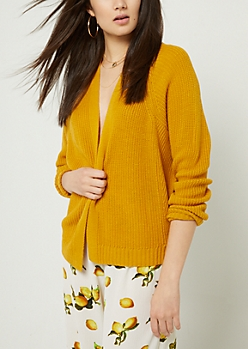 Mustard Open Front Long Sleeve Cardigan