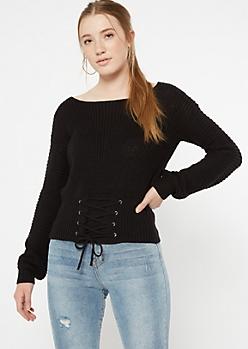 Black Corset Waist Waffle Knit Sweater