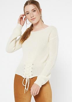 Ivory Corset Waist Waffle Knit Sweater