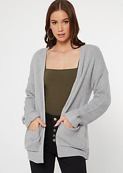 Gray Front Pocket Open Cardigan