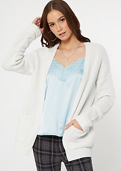 Ivory Front Pocket Open Cardigan