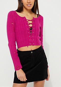 Fuchsia Ribbed Lace Up Crop Sweater