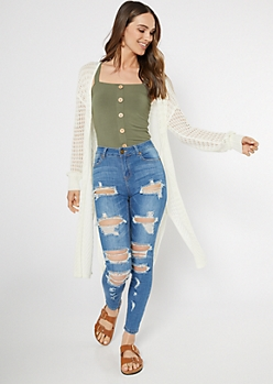 Ivory Pointelle Long Length Cardigan