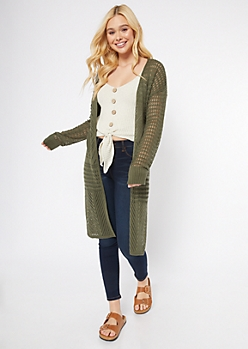Olive Pointelle Long Length Cardigan