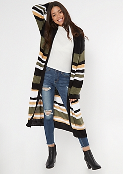 Olive Striped Flare Sleeve Long Duster Cardigan